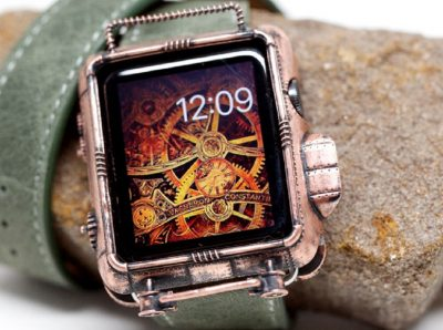 A 3D Printed Steampunk Apple Watch Cover in Copper