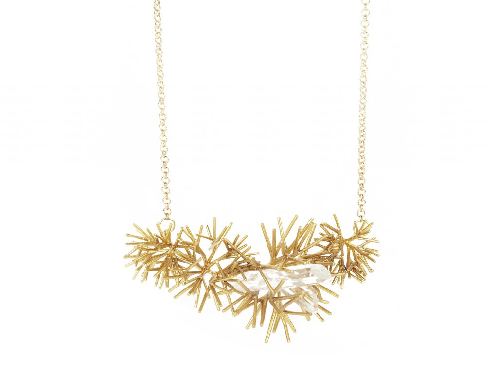 Necklace Tree Quad Brass Crystals by Blueberries