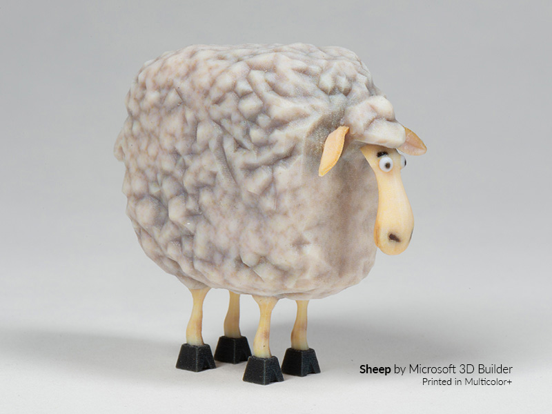 3d-printed multicolor + sheep figurine