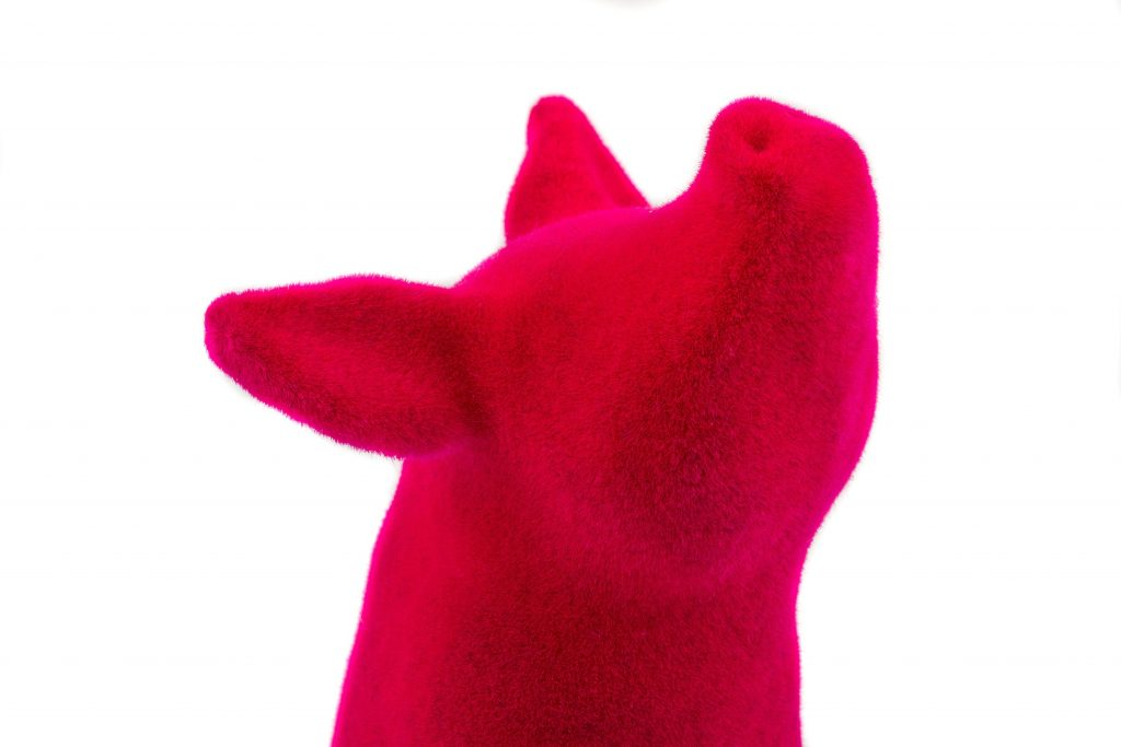 Penguin by Bert De Niel printed in Polyamide (SLS) with a pink velvet finish.