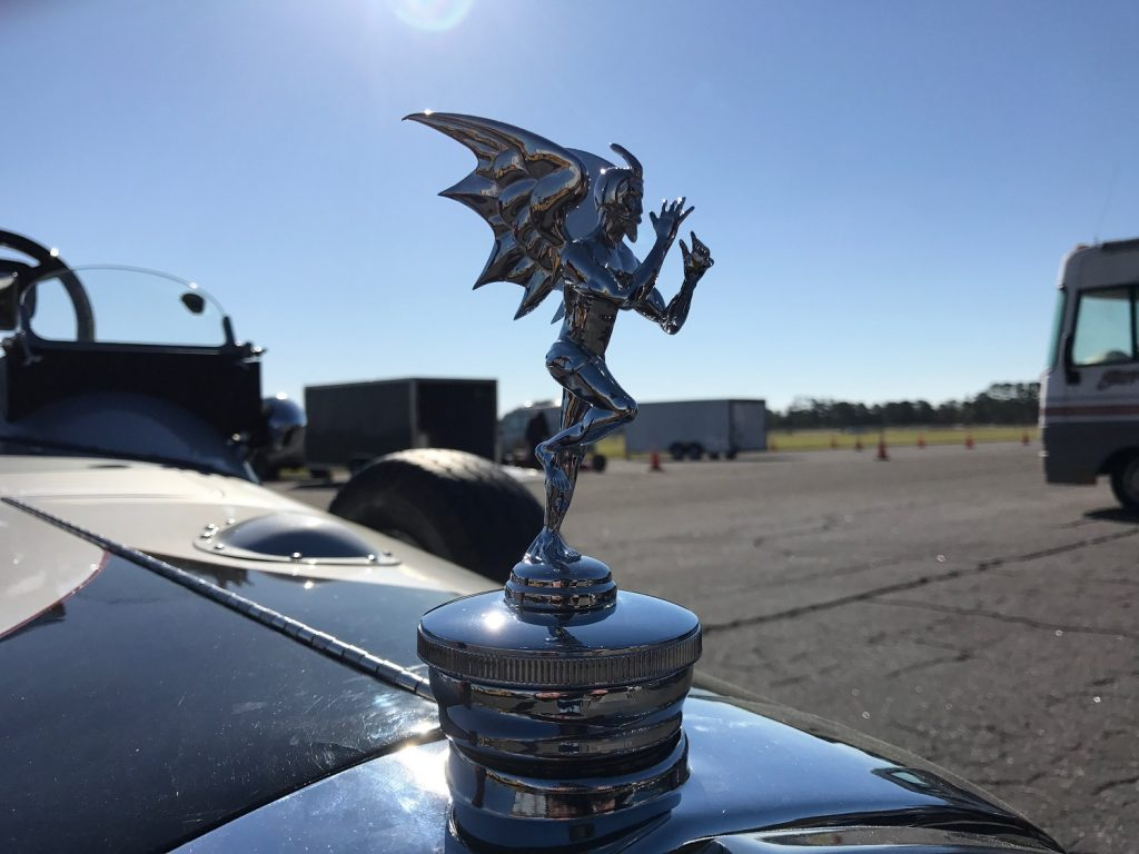 3D-printed hood ornament on a 29 Model A Speedster