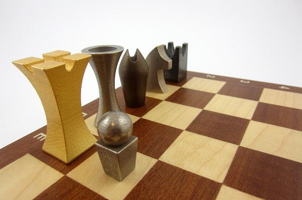 Chess set in wheat penny and old silver stainless steel