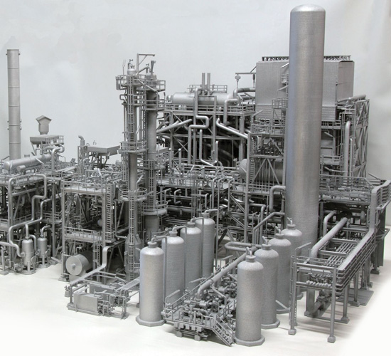Replica of a gas plant created using polyamide spray painted silver