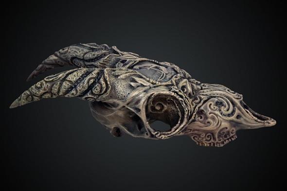Hand-painted goat skull model, 3D printed using Gray Resin