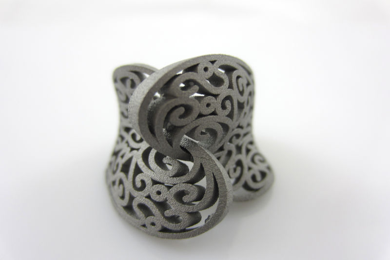 3D-printed stainless-steel ring with a secret 'I love you' message, designed by Roberto Trentin