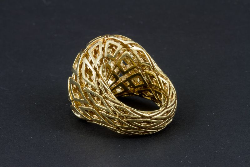 Statement ring printed in 3D untreated brass