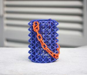 3D-printed nylon geometrical bag in vivid colours