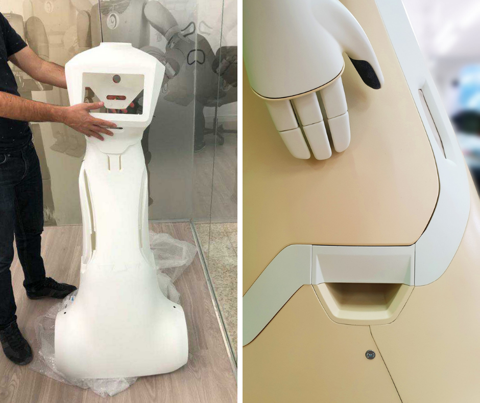 The housing of the robot's body and details in its structure