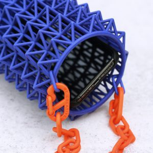 3D-printed nylon geometrical bag in vivid colours (close look)