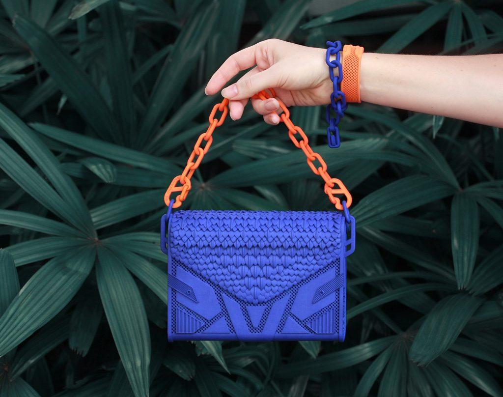 3D-printed nylon geometrical purse in vivid colours