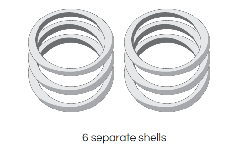 An example of six separate rings in a single 3D printing design