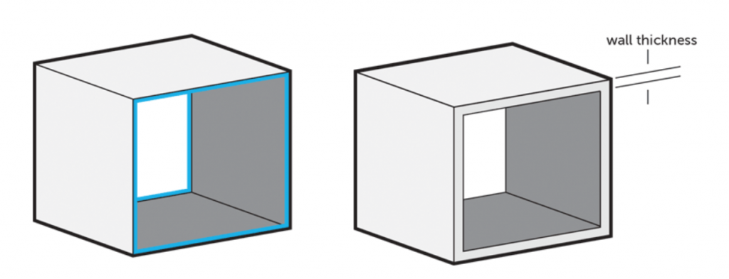 An example of two boxes with different wall thickness in a 3D printing design