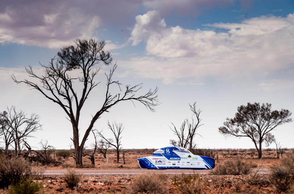 Solar car race in the desert
