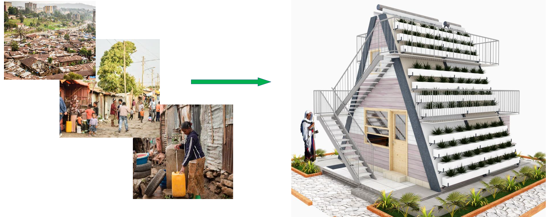 Pictures of urban sub-standard housing compared to Tridealhouse — a sustainable home for future residents