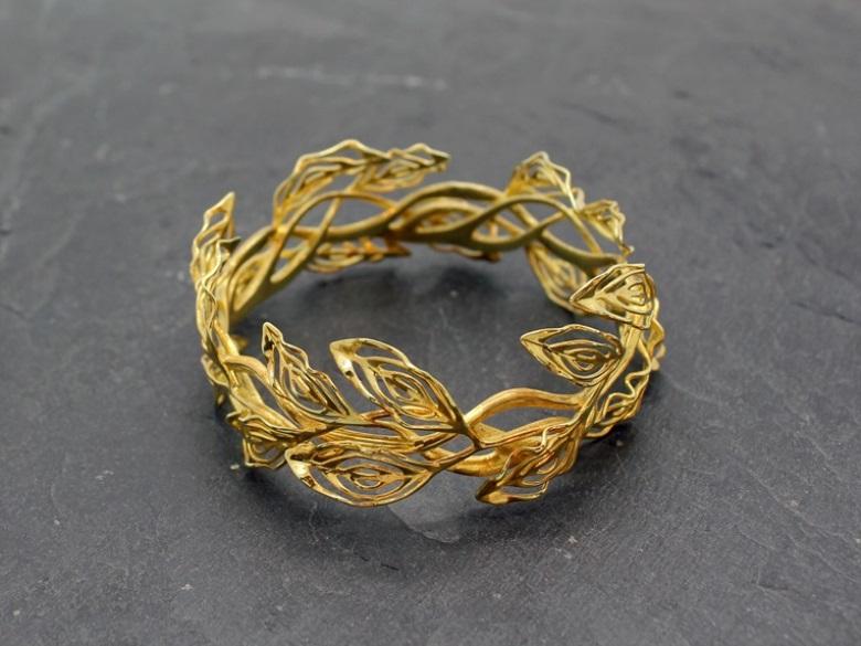 Gilt Laurel Bracelet Art Nouveau Jewelry Gold Plated